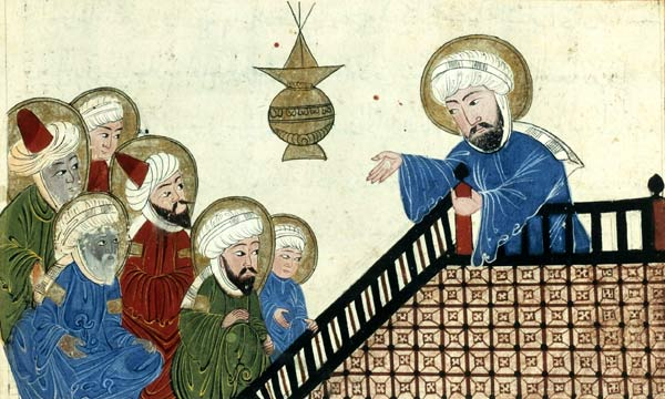 Persian or central Asian illustration showing Mohammed (on the right) preaching
